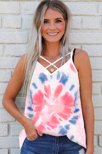 Pink Tie Dye Strappy Crossed Neckline Tank Top
