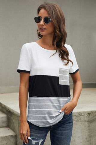 Black Right Here With Me Color Block Top