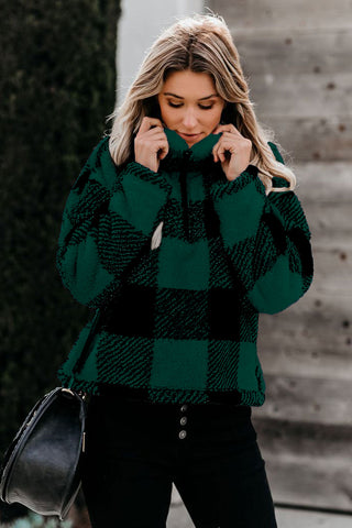 Green Checkered Half Zip Pullover