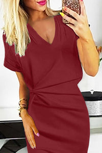 Red V Neck Cutout Inverted Pleat Bodycon Dress