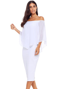 White Off Shoulder Sleeve Detail Bodycon Midi Dress