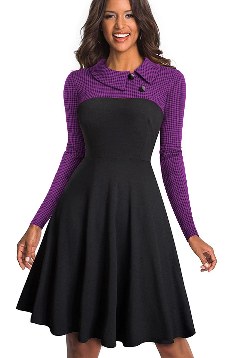 Purple Vintage Turn-Down Collar Pinup Button A-Line Dress