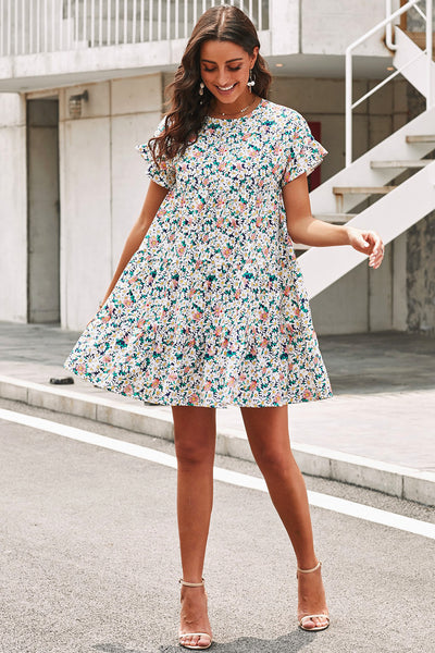 Multicolor Tiered Gathered Floral Print Short Dress