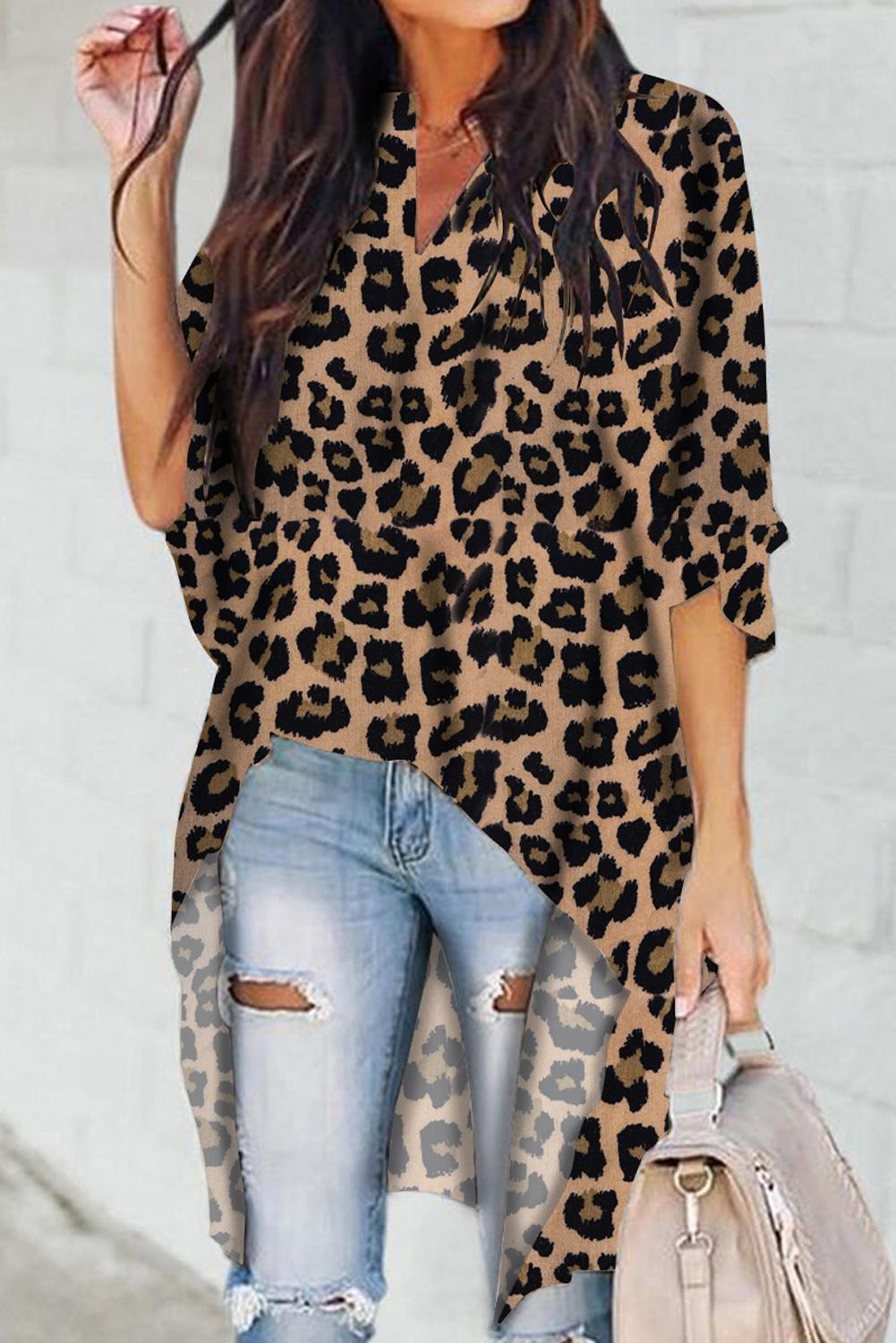 Brown V-Collar Irregular Leopard Print Blouse