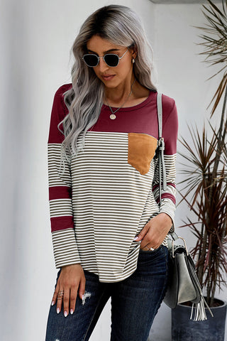 Wine Pinstripe Patch Pocket Top