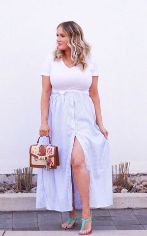 Blue White Stripes Button Front Maxi Skirt