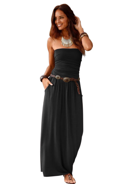 Black Strapless Bodice Empire Waist Maxi Dress