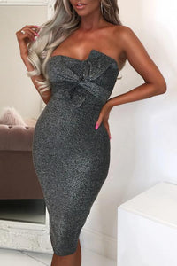 Gray Luxe Glam Knot Front Bandeau Midi Dress
