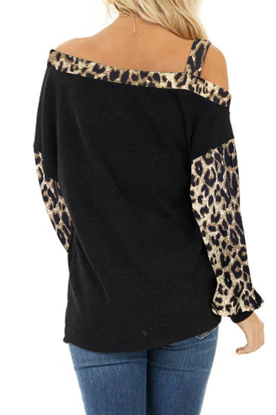 Dew Shoulder Leopard Stitching Long-sleeved Blouse