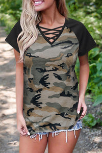 CrissCross Camo V Neck T-Shirt