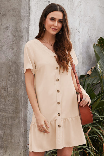 Beige Pocketed Button Down Ruffle Dress