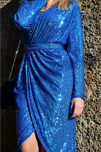 Blue Sequins Wrapped Ruched Irregular Dress