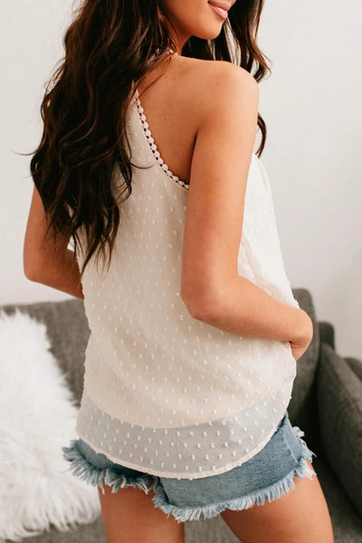 White Swiss Dot Lace High Neck Top