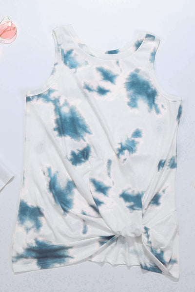 White Tie Dye Twist Detail Tank Top