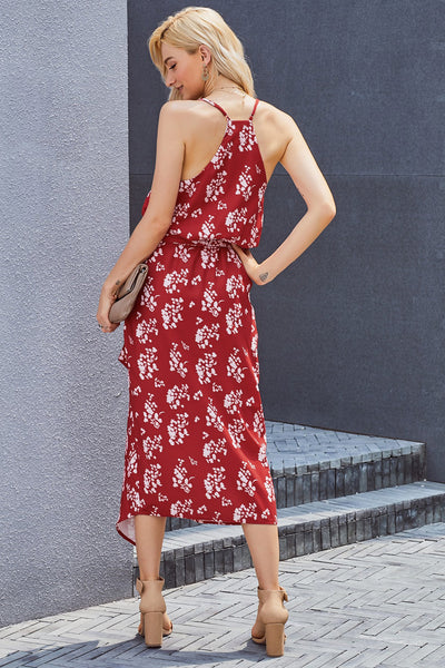 Red Print Wrap Midi Dress
