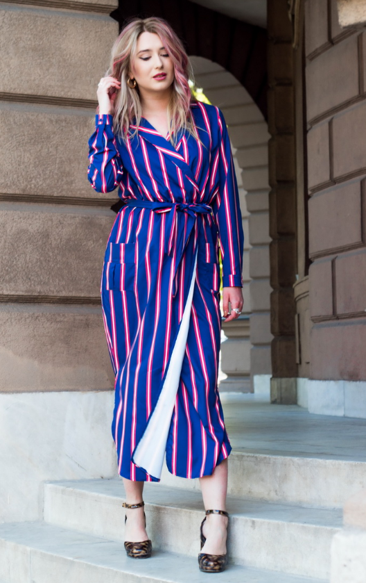 Navy Blue Multi Striped Shirt Dress with Tie