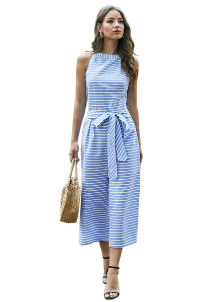 Sky Blue Striped Sleeveless Waist Belted Wide Leg Loose Jumpsuit