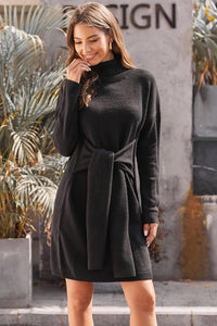 Black Long Sleeve Tie Waist Turtleneck Pullover Sweater Dress