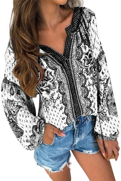 White Floral Print Long Sleeve Mid-Length Blouse