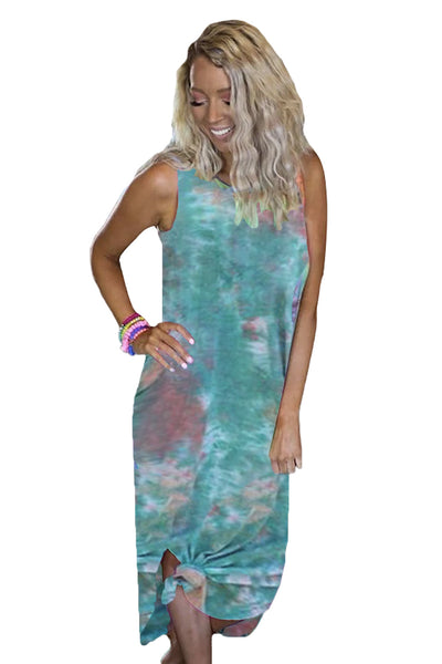 Sand in My Toes Blue Tie Dye Midi Dress
