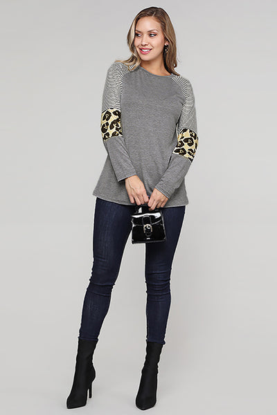 Gray Striped and Leopard Color Block Sleeves Top