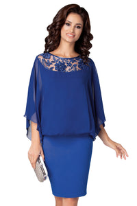 Cobalt Blue Crochet Lace Detail Elegant Poncho Dress