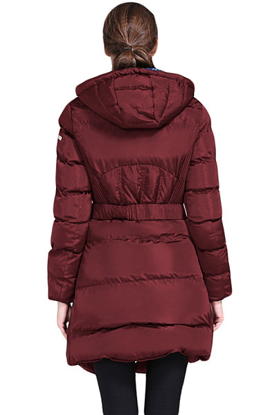 Burgundy Cotton Quilted Longline Hooded Coat