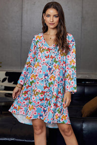 Multicolor Printed V-Neck Three Quarter Sleeve Loose Dress