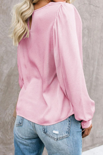 Pink Billowy Bell Sleeve Relaxed Fit Pullover Top