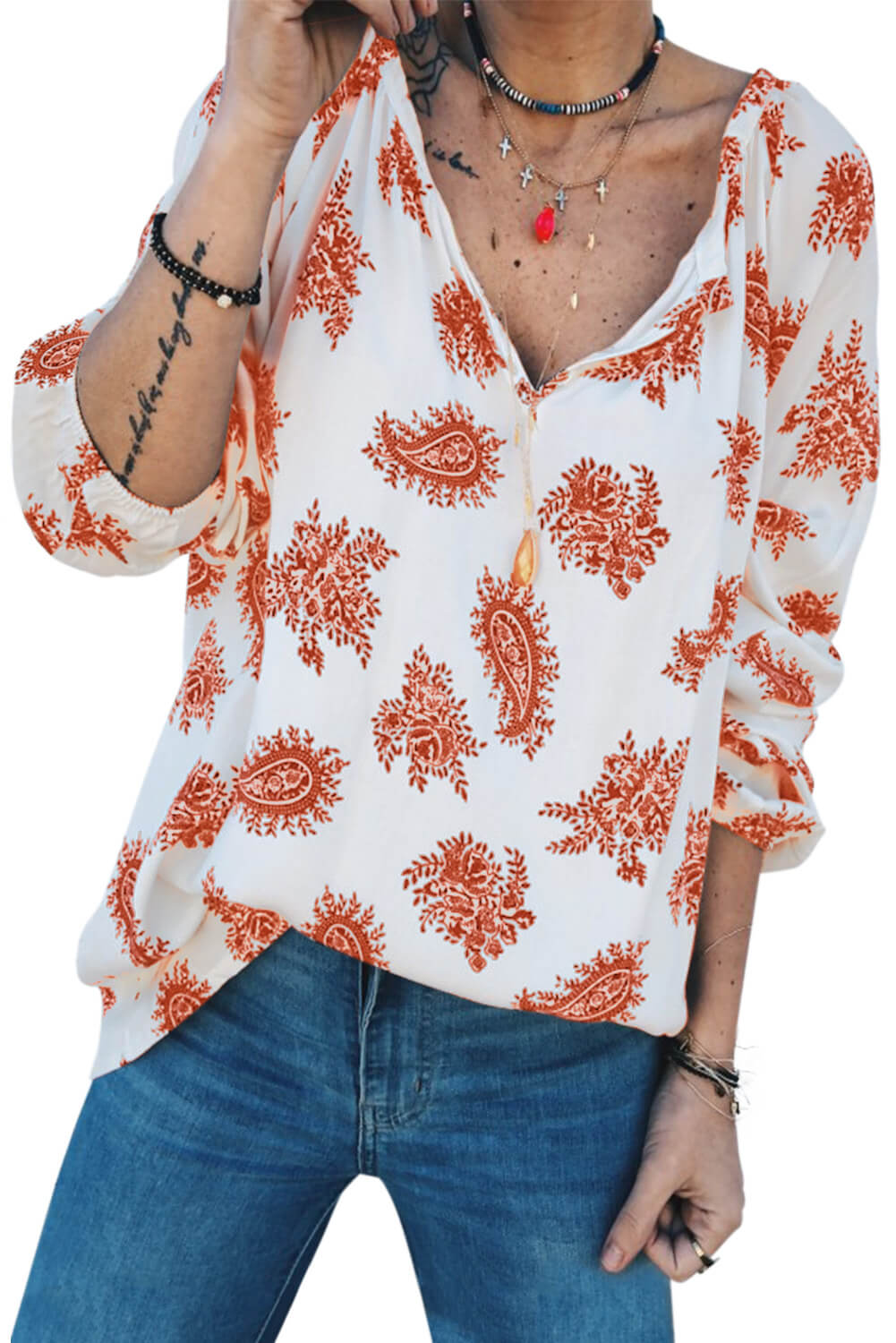 Orange 3/4 Sleeve Print V Neck Loose Casual Blouses Top