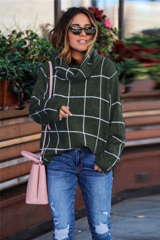 Green Grid Pattern Turtleneck Sweater