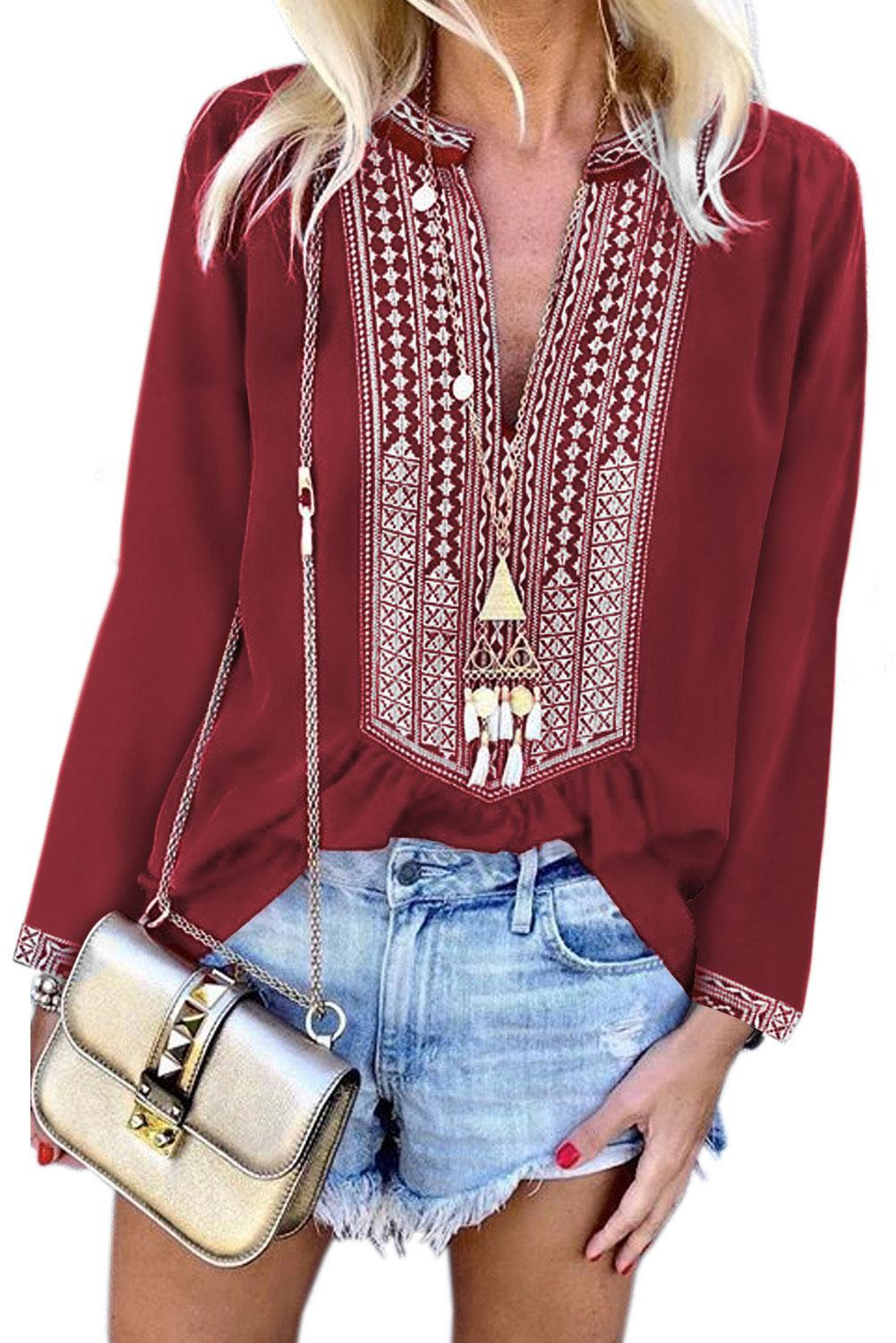 Red Long Sleeves Front Embroidery Blouse
