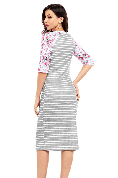 Grey White Stripe Floral Sleeve Midi Dress
