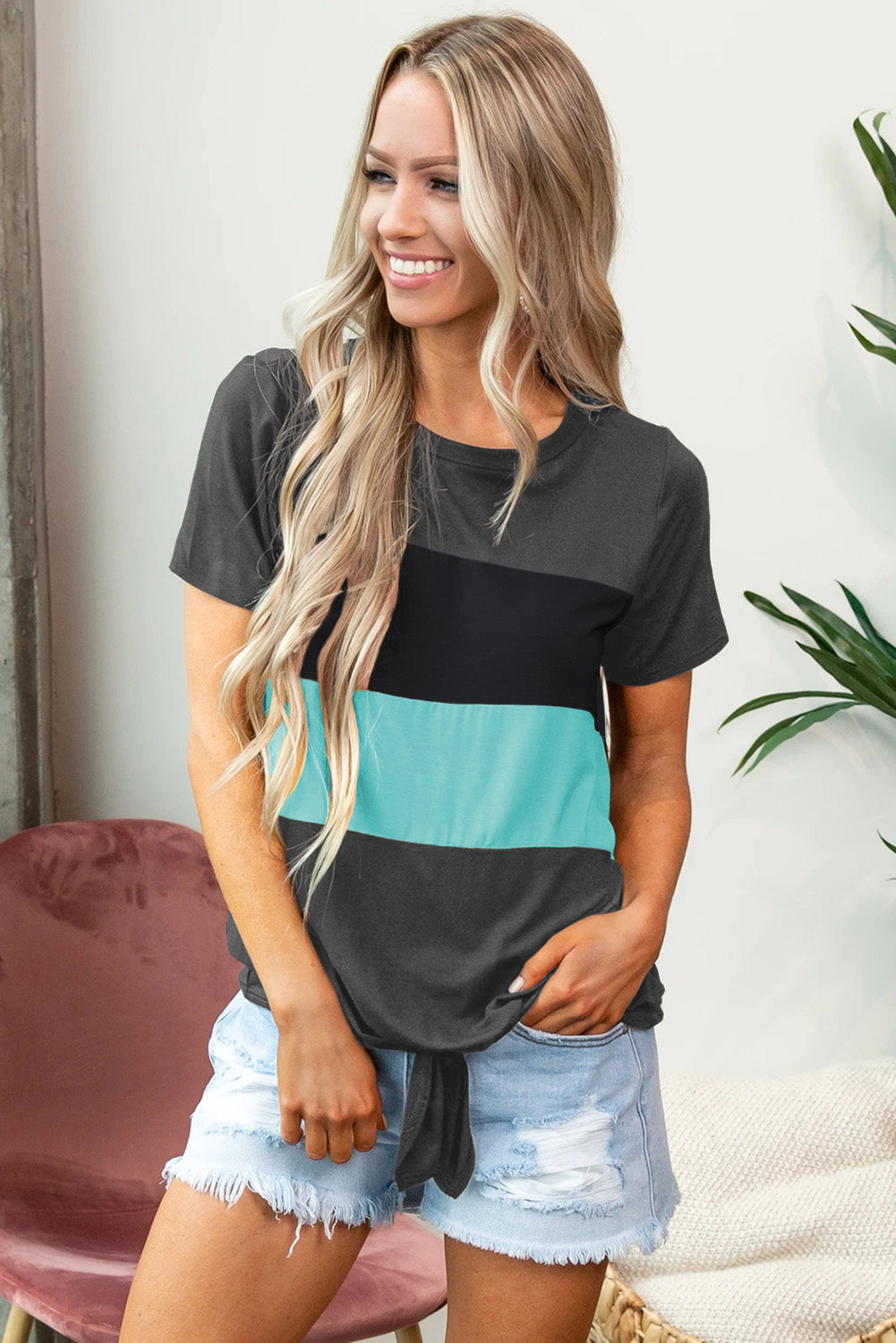 Gray Color Block Panel Front T-shirt with Knot