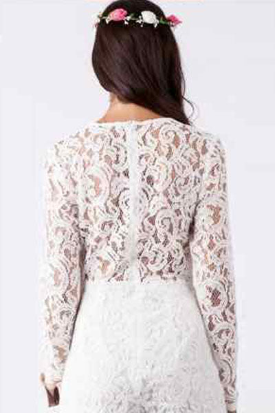 White Alluring Deep V Neck Long Sleeve Lace Romper
