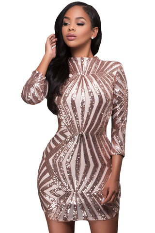 Champagne Sequin Detail Open Back Party Mini Dress