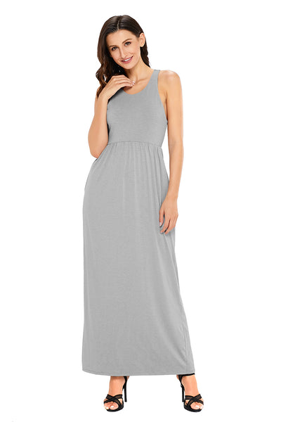 Grey Racerback Maxi Dress with Pockets
