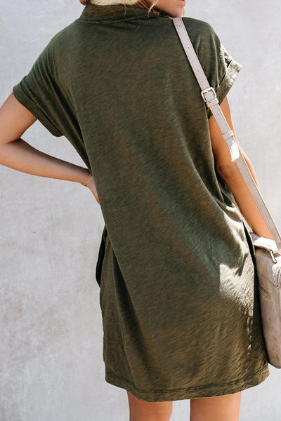 Green Came To Play Cotton Blend Pocketed T-Shirt Dress