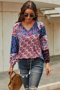 Purple Floral Print Peasant Blouse