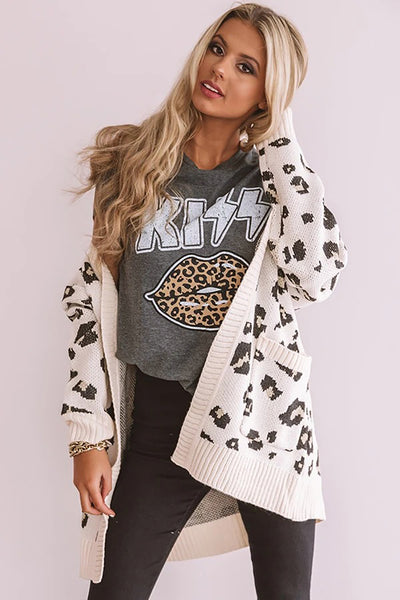 KISS Leopard Lip Black T-shirt