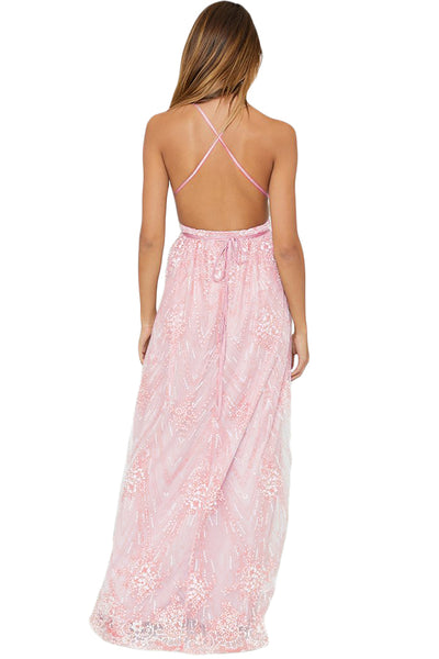 Pink Daring Open Back Glittering Party Dress
