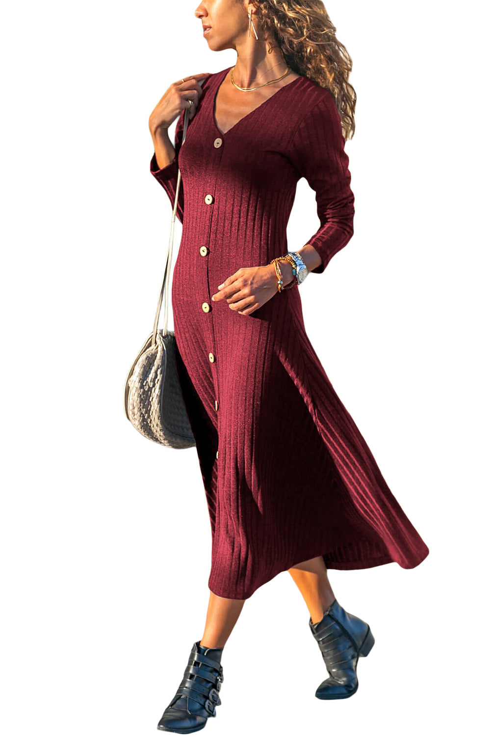 Burgundy Button Front Long Sleeve Ribbed Midi Dress