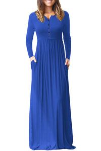 Royal Blue Long Sleeve Button Down Casual Maxi Dress