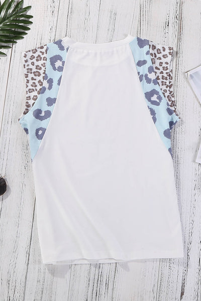 White Leopard Cap Sleeve Casual Top