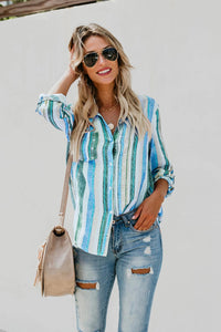 Sky Blue Sweet Enough Striped Button Down Top