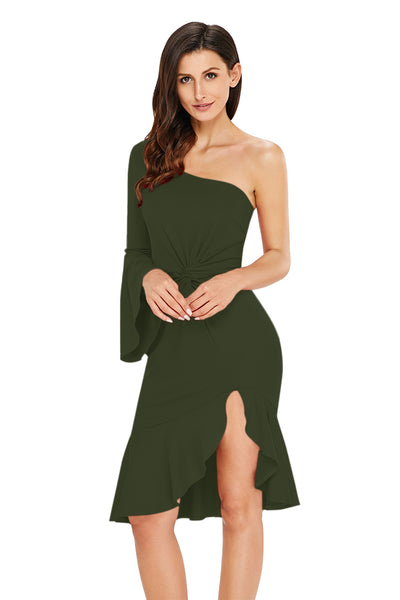 Green Twist and Ruffle Accent One Shoulder Prom Dress