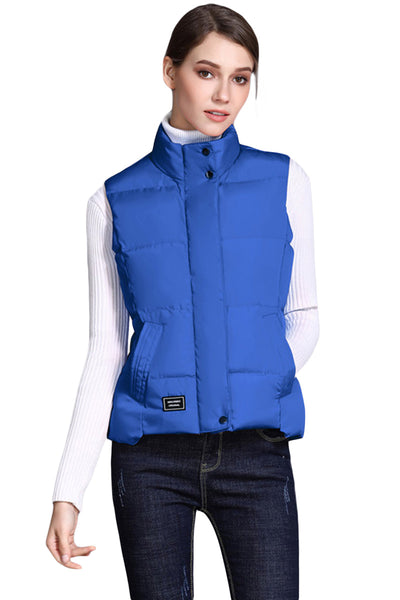 Bright Blue Sleeveless Female Cotton Jacket