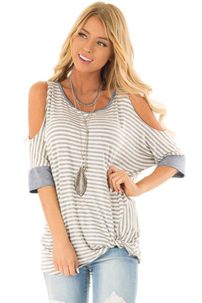 Gray Striped Cold Shoulder Top With Front Twist