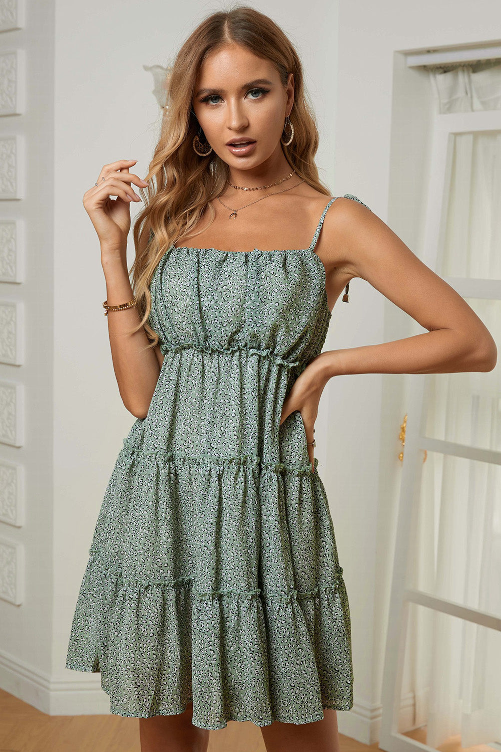 Green A-line Layered Ruffled Floral Dress