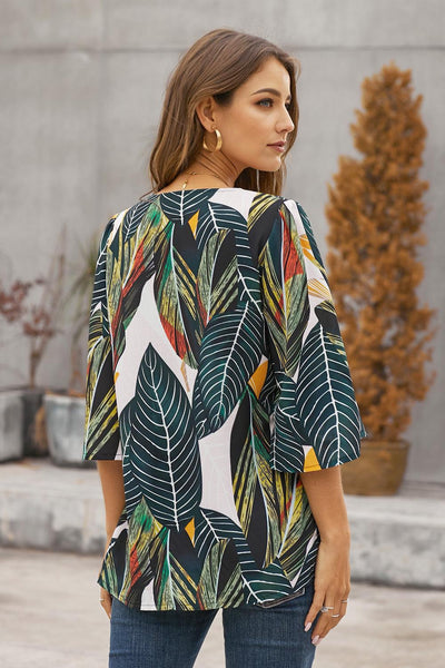Green Tropical Leaf Print Button Down Blouse